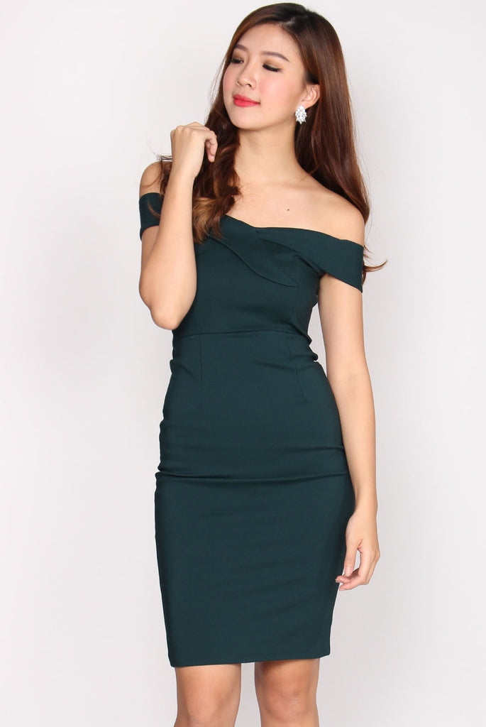 *Restock* Parker Origami Off Shoulder Dress In Teal