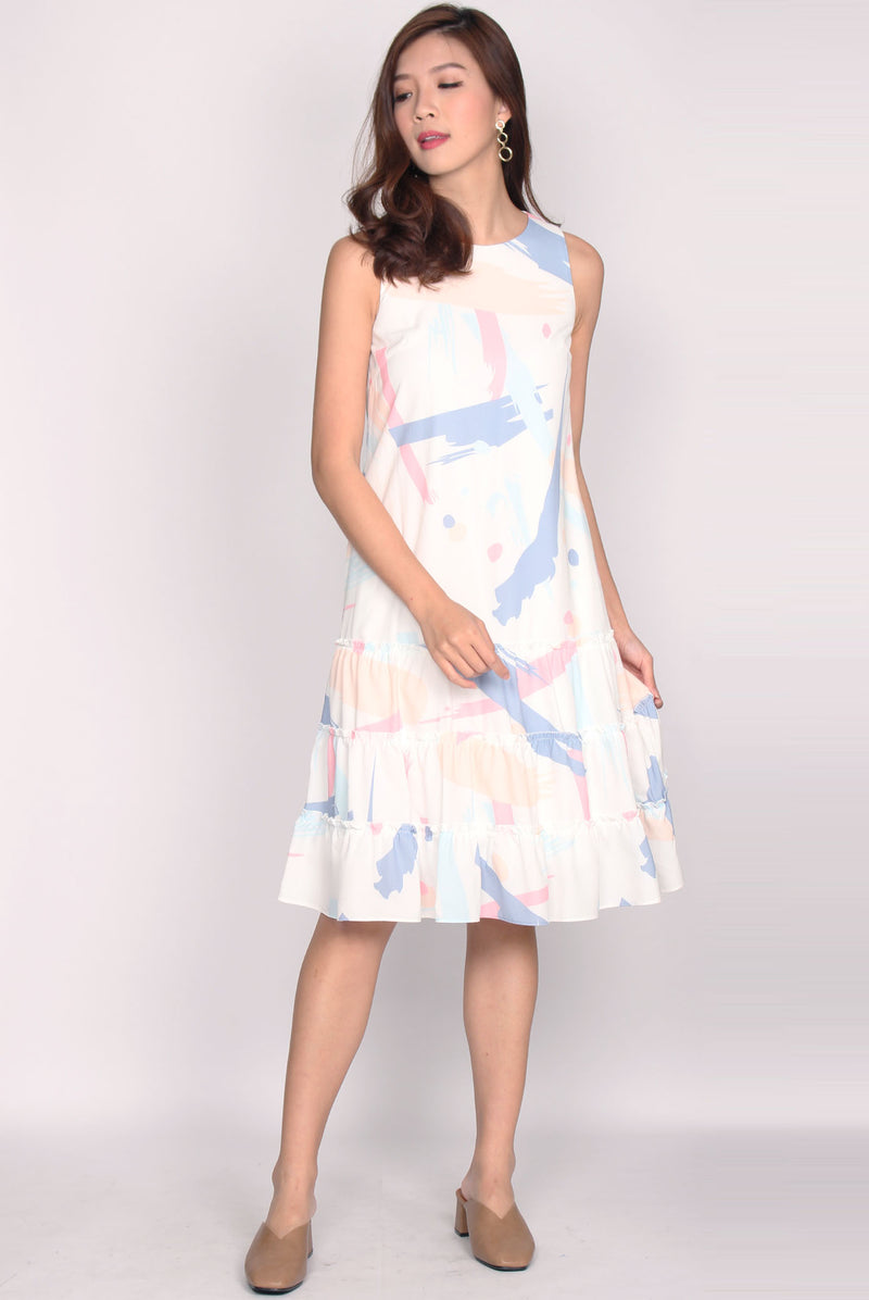 Patrizio Triple Ruffle Midi Dress In Pastel