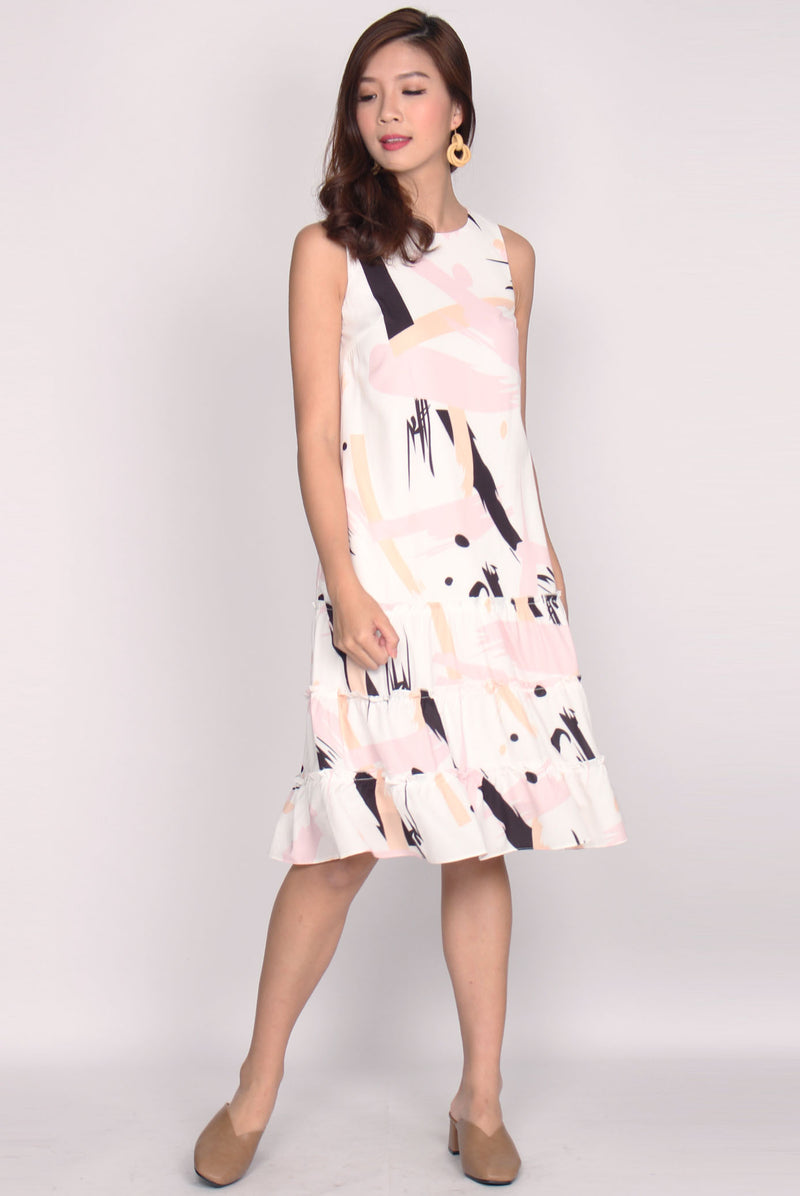 *BACKORDER* Patrizio Triple Ruffle Midi Dress In Black Pink
