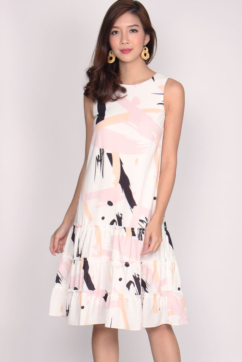 *Restock* Patrizio Triple Ruffle Midi Dress In Black Pink