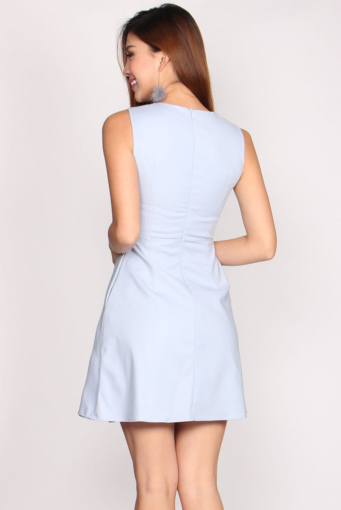 Pauline Origami Double Hem Dress In Skyblue