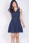 Paxley Eyelet Skater Dress In Navy Blue