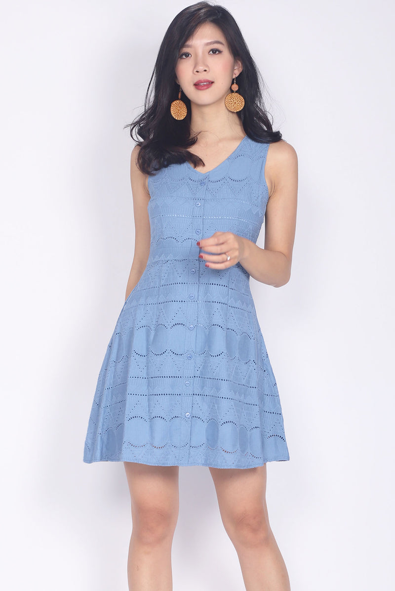 Paxley Eyelet Skater Dress In Skyblue