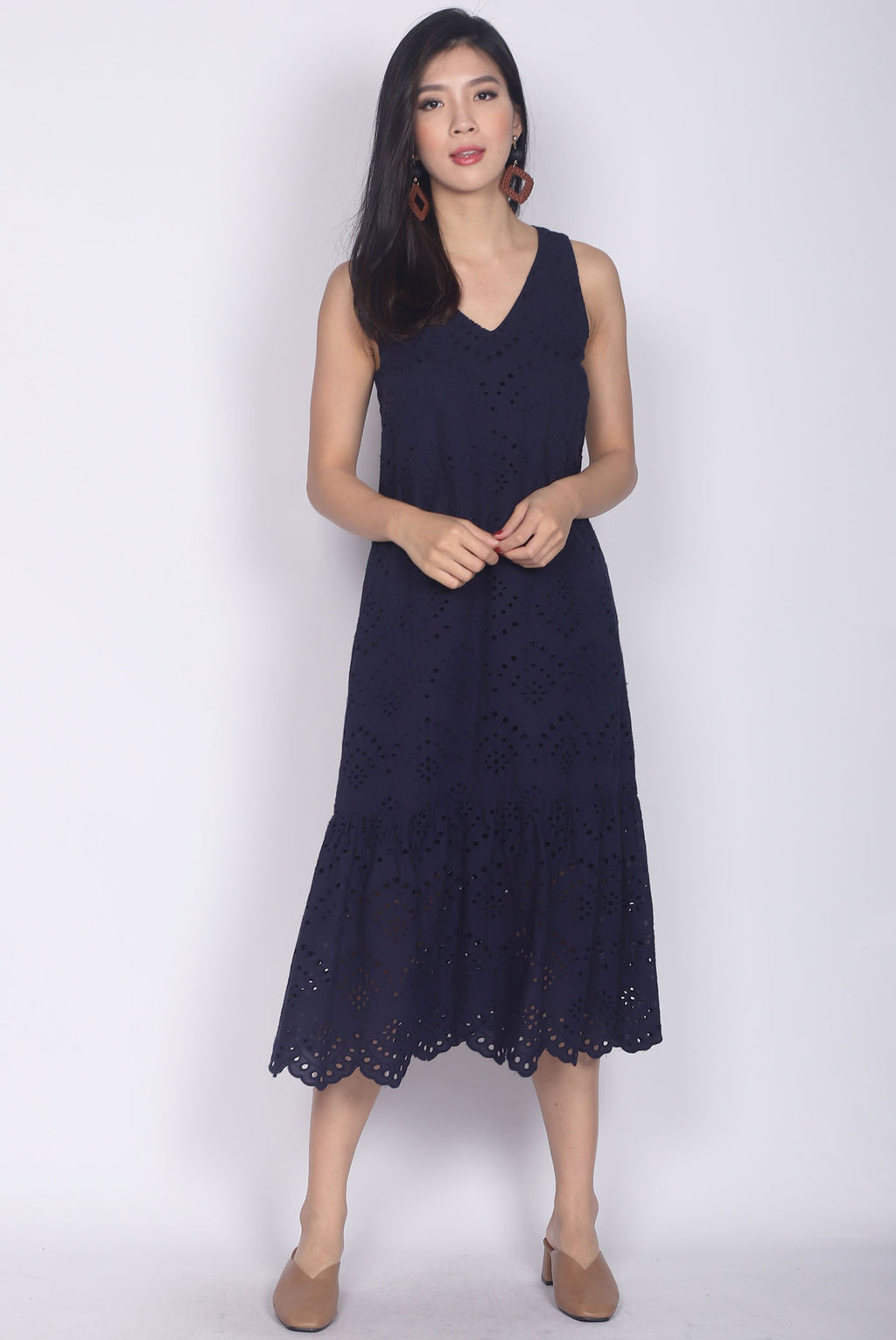 Pebbles Eyelet Midi Dress In Navy Blue