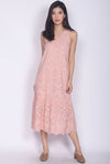 Pebbles Eyelet Midi Dress In Pink
