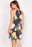 Pedona Floral Trapeze Dress In Black