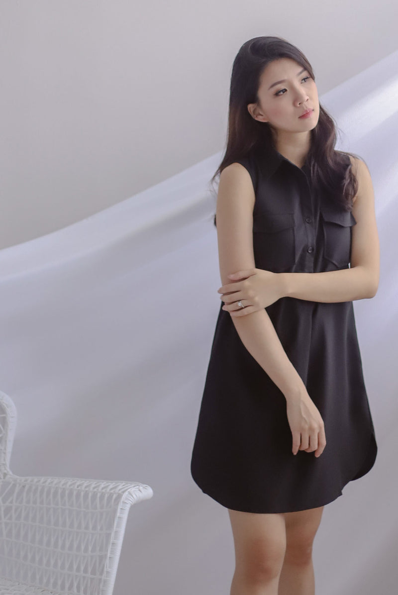 Peeri Utility Sleeveless Dress In Black