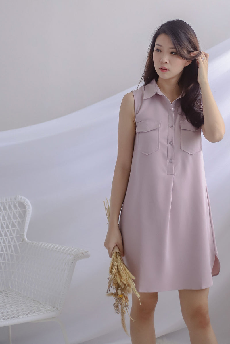 Peeri Utility Sleeveless Dress In Lilac