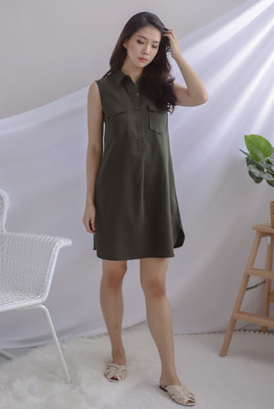 Peeri Utility Sleeveless Dress In Olive