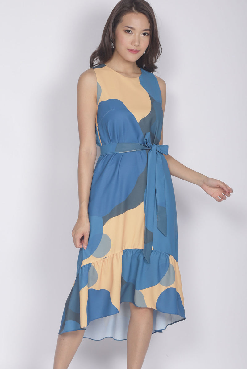 Pegeen Abstract Drop Hem Dress In Blue