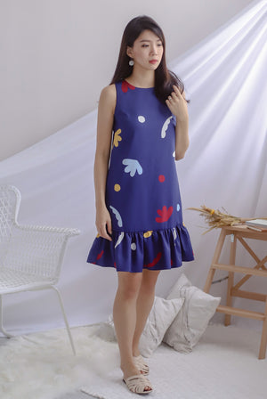 Pella Abstract Drop Waist Dress In Navy Blue