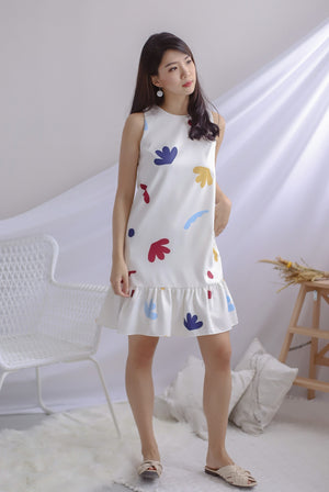 Pella Abstract Drop Waist Dress In White