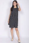 Permelia Pleated Layer Dress In Black Dots