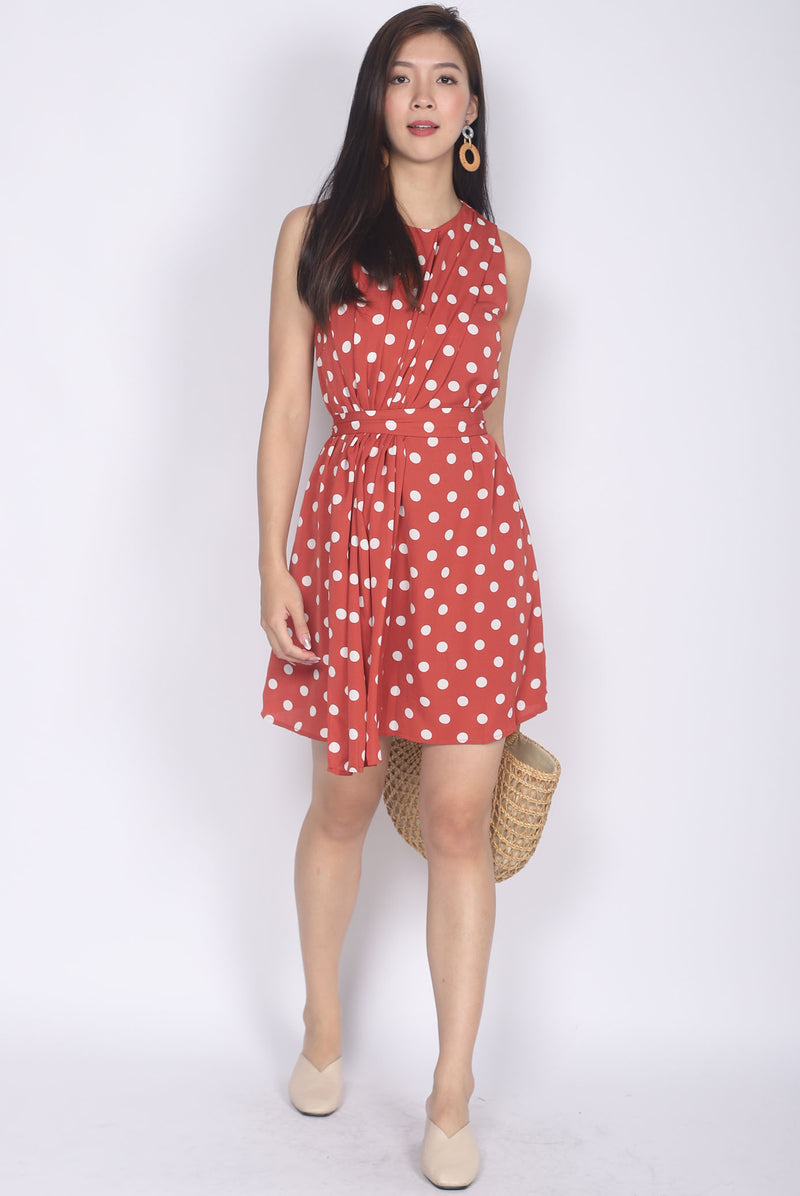 Permelia Pleated Layer Dress In Tea Rose Dots