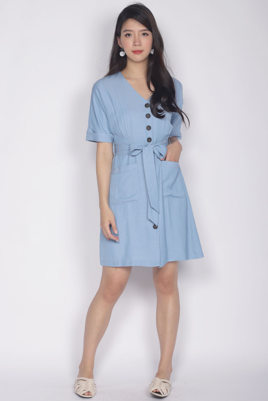 Perry Sleeved Pockets Dress In Blue