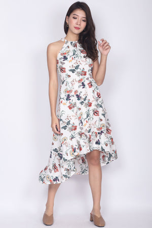 Persephone Halter Back Drop Midi Dress In White Floral