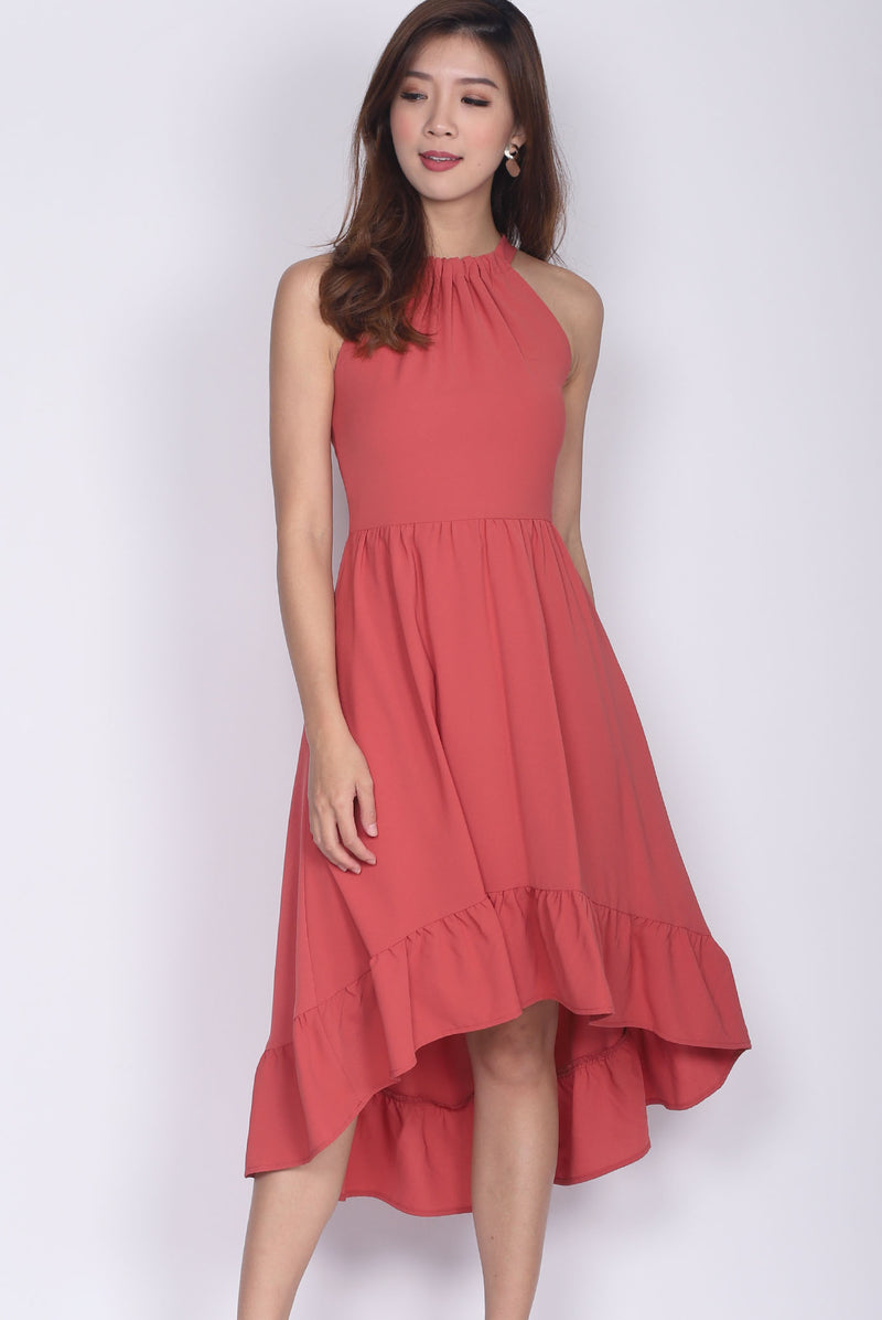 Persephone Halter Back Drop Midi Dress In Tea Rose