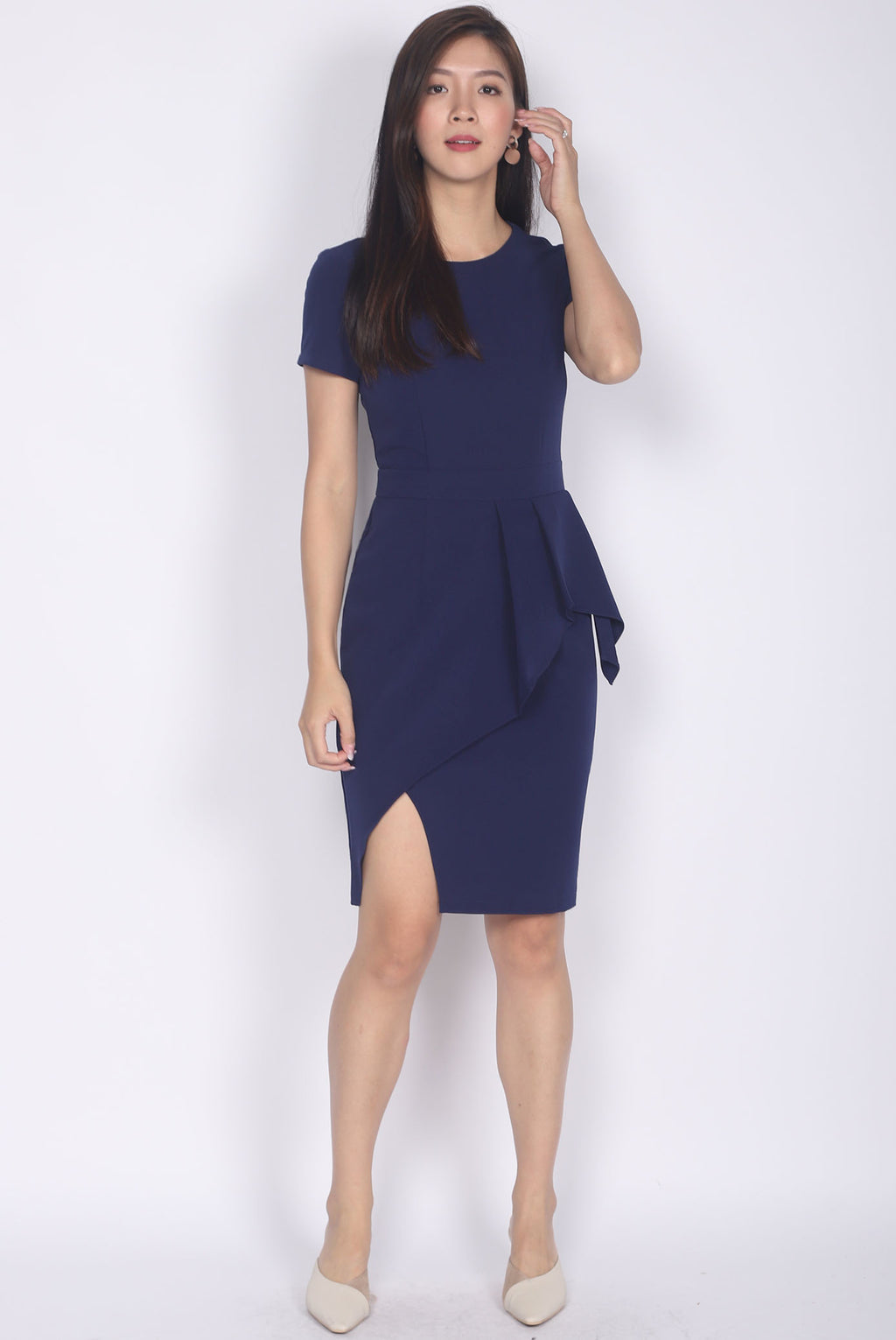*Premium* Petula Sleeved Pleated Pencil Dress In Navy Blue