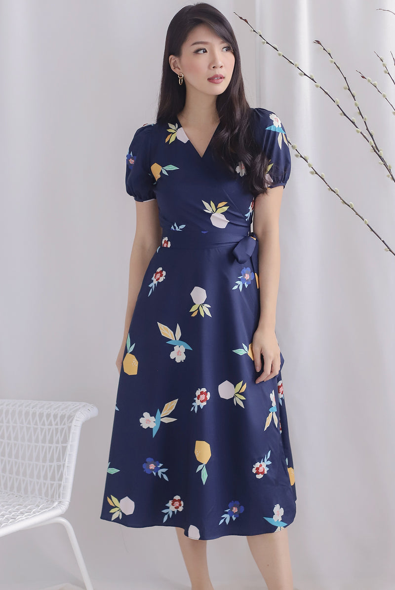 *Backorder* Peyton Garden Wrap Dress In Navy Blue