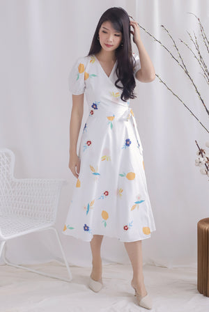 Peyton Garden Wrap Dress In White