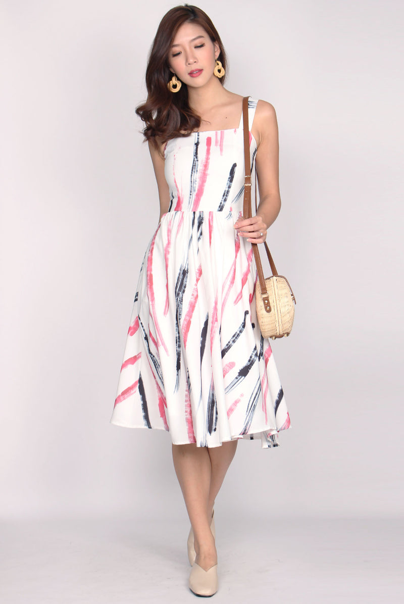 Pippin Square Neck Midi Dress In Pink Paint