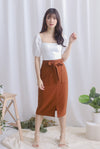 Pixie Utility Pockets Skirt In Brick