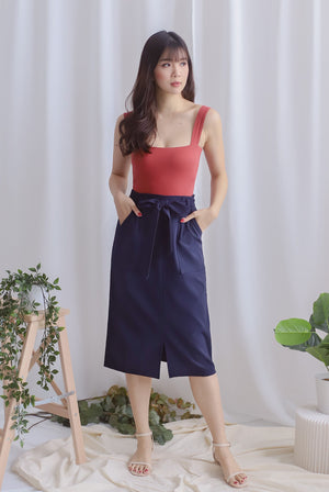 Pixie Utility Pockets Skirt In Navy Blue