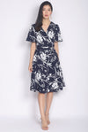 Poesy Floral Sleeve Wrap Dress In Navy Blue
