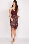 Portia Asymm Lace Spag Dress In Wine Red