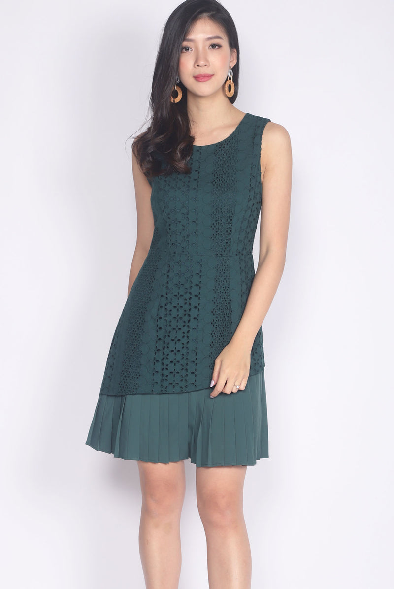 Prabal Pleated Hem Eyelet Dress In Forest Green