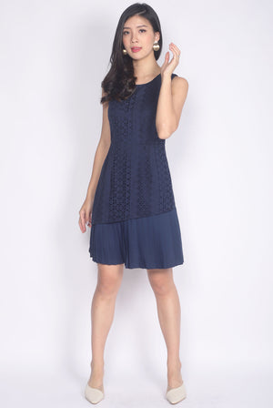 Prabal Pleated Hem Eyelet Dress In Navy Blue