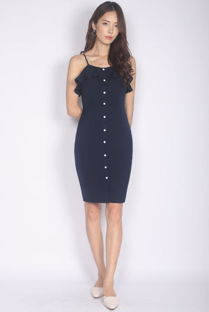 *Premium* Chloe Ruffle Buttons Dress In Navy Blue