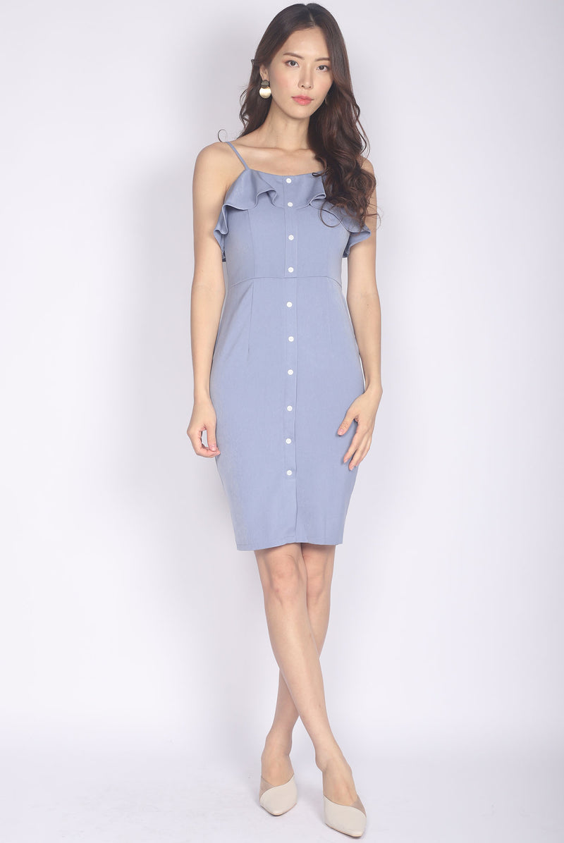 *Premium* Chloe Ruffle Buttons Dress In Periwinkle
