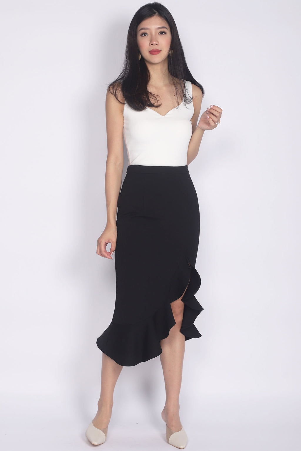 *Premium* Denver Mermaid Slit Skirt In Black