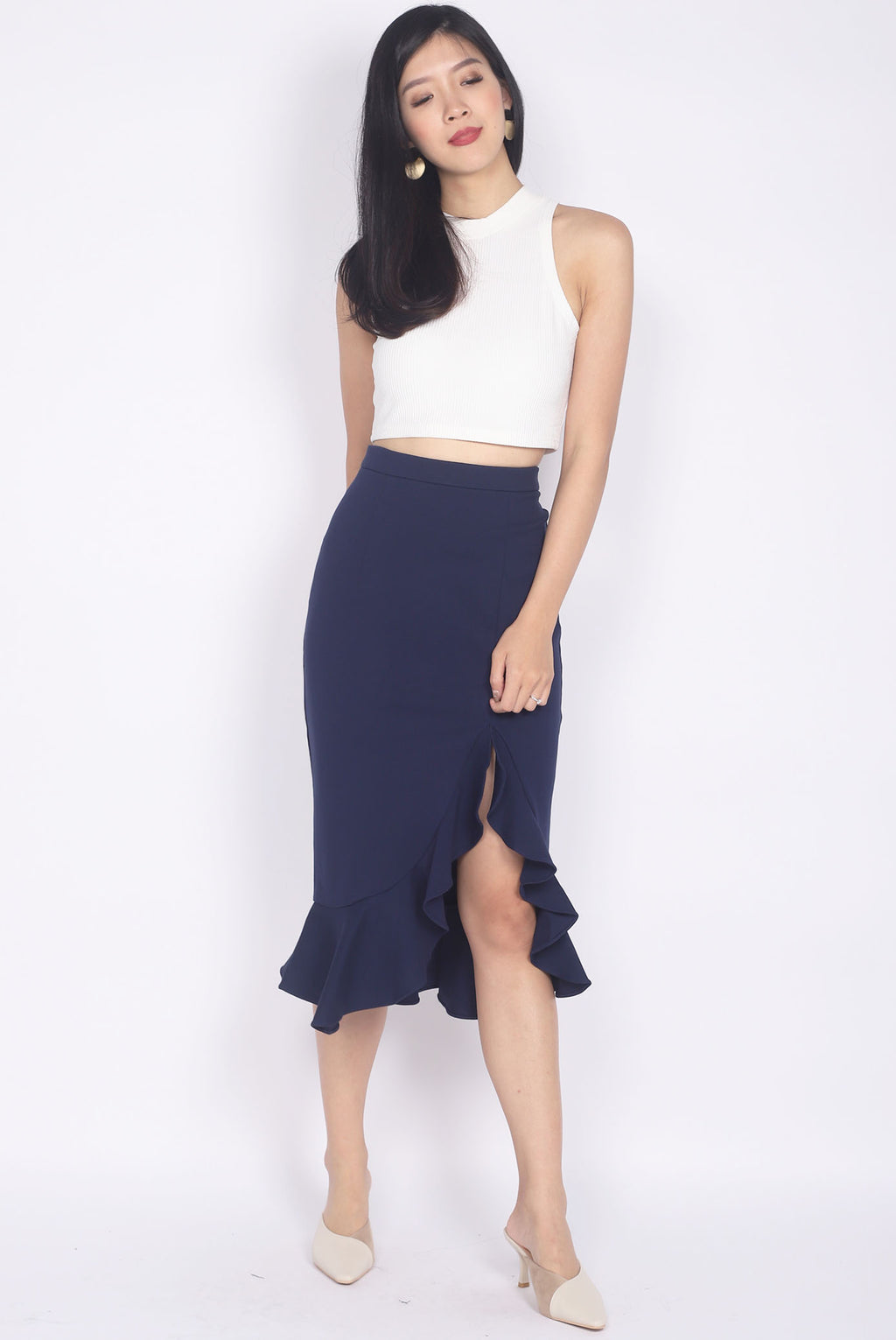 *Premium* Denver Mermaid Slit Skirt In Navy Blue