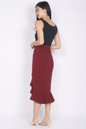 *Premium* Denver Mermaid Slit Skirt In Wine Red