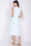 Pris Watercolour Buttons Dress In Blue