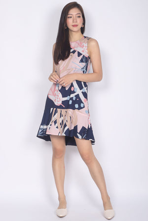 Prisma Abstract Reversible Drop Waist Dress In Navy Blue