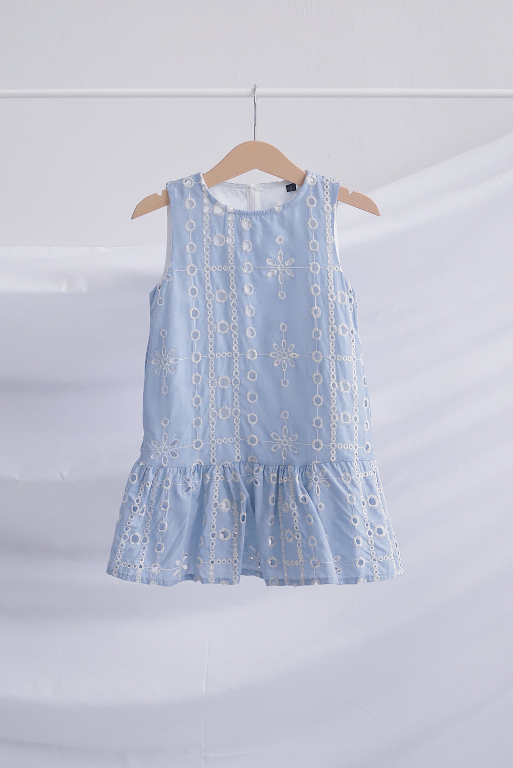 *Kids* Cassie Eyelet Drop Waist Dress In Blue