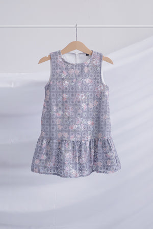 *Kids* Edelle Floral Eyelet Drop Waist Dress In Purple
