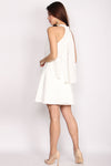 Prunella Tier Wing Lace Halter Dress In White