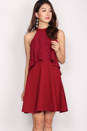 Prunella Tier Wing Lace Halter Dress In Wine Red