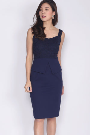 *Premium* Quentin Lace Peplum Dress In Navy Blue