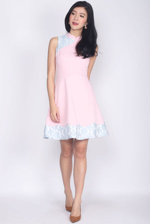 Quisha Emboss Block Cheong Sam Dress In Blush