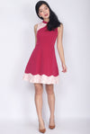 Quisha Emboss Block Cheong Sam Dress In Rose