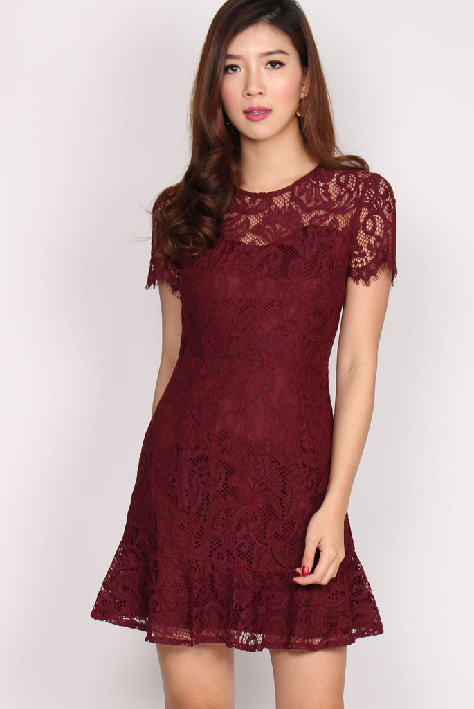 Rachelle Trumpet Hem Lace dress In Wine Red