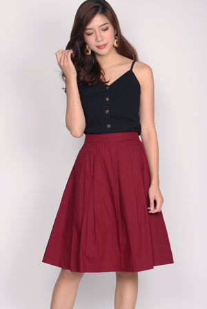 Antonella Pleated Skirt In Wine Red