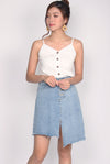 Raina Linen V Button Top In White
