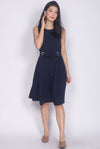 Ramey Ring Sash Midi Dress In Navy Blue