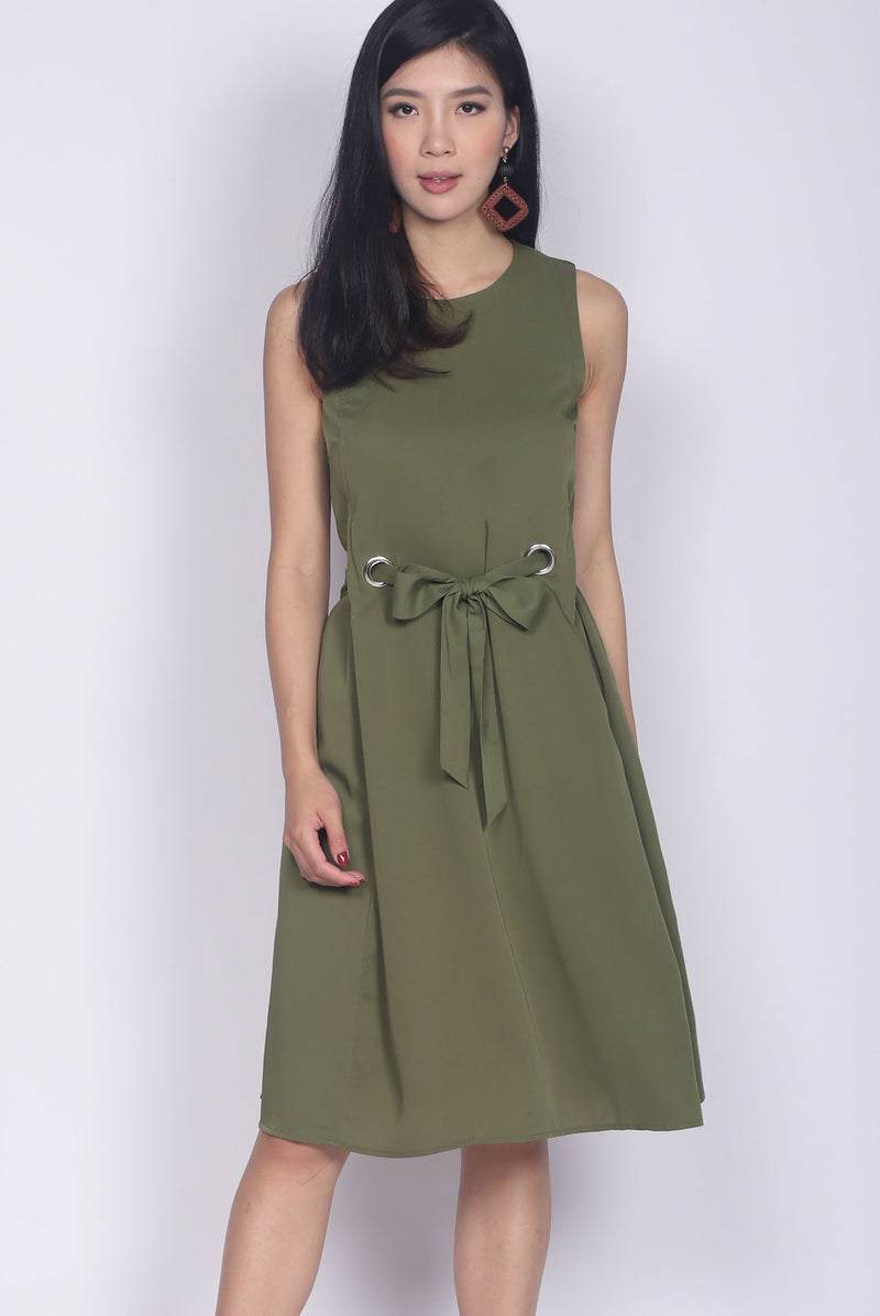 Ramey Ring Sash Midi Dress In Olive